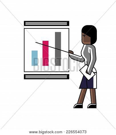 African Woman Doing Business Presentation With Financial Diagram On Whiteboard. Corporate Business P