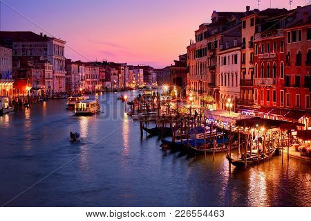 Venice, Italy - May 21, 2017: Beautiful View Of The Grand Canal In Venice From The Rialto Bridge, Wi