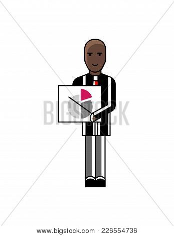 African Businessman Showing Financial Diagram. Corporate Business People Isolated Vector Illustratio