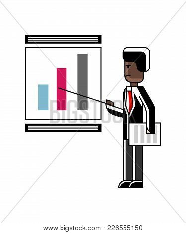 African Speaker Doing Business Presentation With Financial Diagram On Whiteboard. Corporate Business