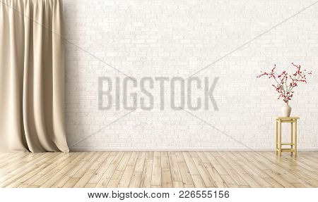 Empty Interior Background, Room With Brick Wall, Vase With Flower Branch And Curtain 3d Rendering
