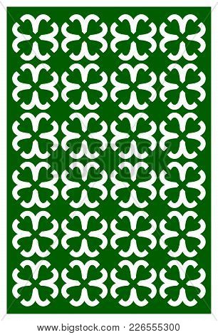 Vector Laser Cut St. Patrick's Day Template With Shamrock. Abstract Clover Pattern Template For Desi