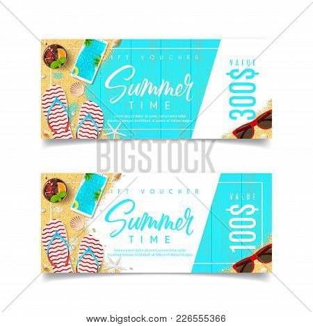 Discount Summer Gift Voucher. Design Of Coupon Usable For Invitation And Ticket. Top View On Holiday