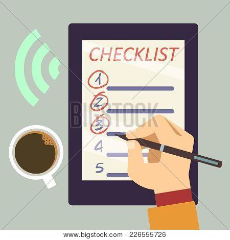 E-bullet Journal With Checklist - Organize E-book Flat Concept. Vector Illustration