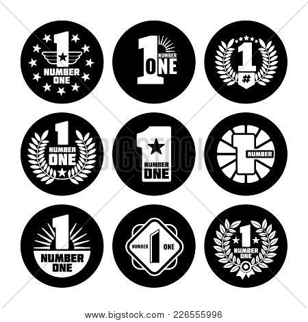 Number One Vector Labels Black Icons Isolated On White Background. Vector Illustration