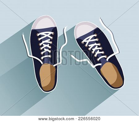 Sneakers. Sneakers In Flat Style. Sneakers Top View. Fashion Sneakers. Fashion Sneakers Black. Vecto