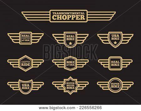 Sport Motorbike Vintage Wing Labels. Bikers Ride Retro Winged Logos Vector Set Illustration