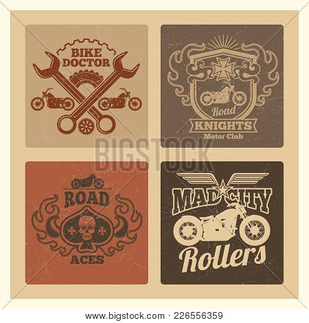 Vintage Grunge Motorcycle Label. Motorbike Vector Emblems Design Illustration