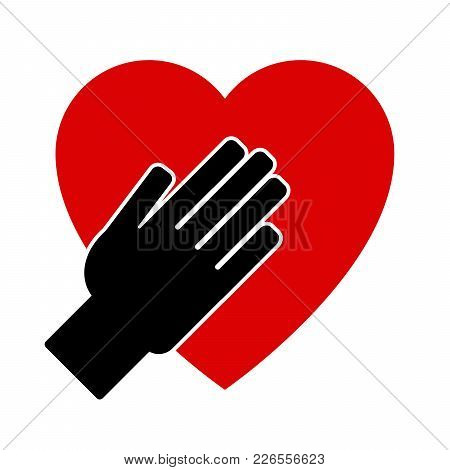 Hand On Heart. Icon On A White Background. Vector Illustration