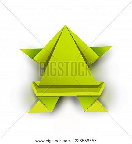 Origami. Origami Frog. Green Origami Frog. Green Paper Origami Frog. Vector Illustration Eps10 File