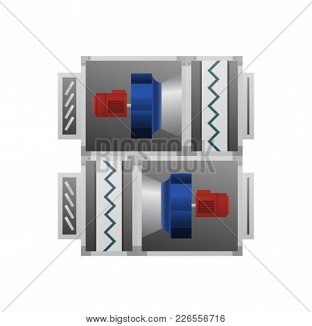 Ventilating Fan Installation Vector Illustration. Technical Image.