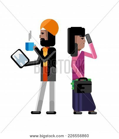 Indian Businessman In Turbine With Tablet Computer And Businesswoman With Money Suitcase. Corporate