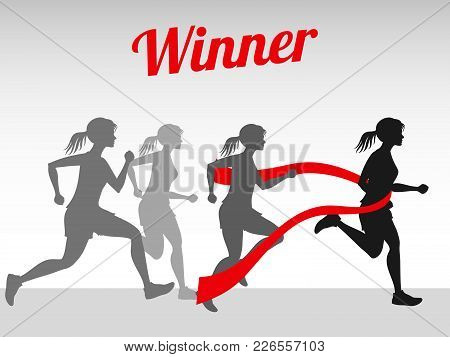 Winner Vector Concept With Female Running Silhouettes On Finish Tape Illustration