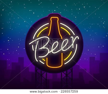 Original Vintage Retro Design Of A Neon-style Logo For A Beer House, Bar Pub, Brewery Brewery, Taver