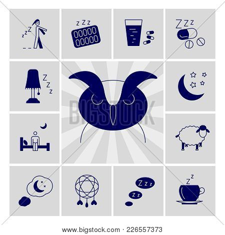Insomnia Problems Vector Icons Set. Asleep Night And Depression Illustration