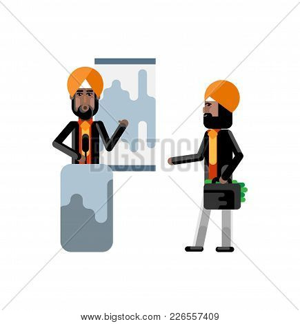 Indian Sikh Speaker On Tribune Doing Business Presentation And Investor In Turbine Holding Money Sui