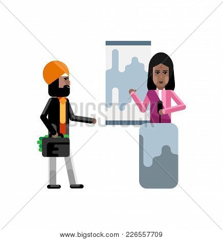 Indian Woman On Tribune Doing Business Presentation And Investor In Turbine Holding Money Suitcase I