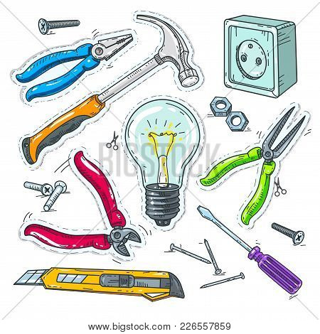Vector Illustration Sketch, Of Comic Style Icons, Colourful Set Of Carpentry Tools, Light Bulb, Sock