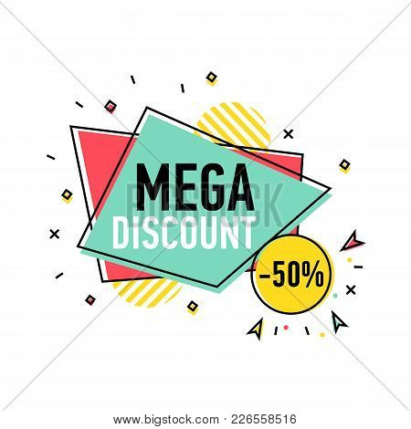 Mega Discount Sticker In Trendy Linear Style. Retail Marketing, New Advertising Campaign, Holiday Sh