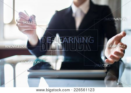 E-learning On The Virtual Screen. Internet Education Concept