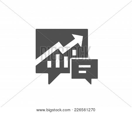 Chart Simple Icon. Report Graph Or Sales Growth Sign In Speech Bubble. Analysis And Statistics Data