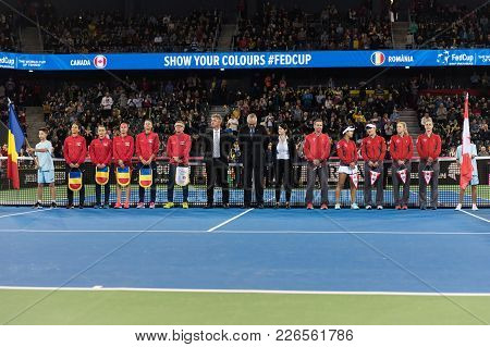 Cluj Napoca, Romania - February 10, 2018: The National Tennis Teams Of Romania And Canada Entering T