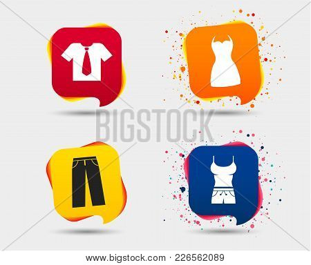 Clothes Icons. T-shirt With Business Tie And Pants Signs. Women Dress Symbol. Speech Bubbles Or Chat
