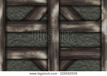 File High Quality. Wall Abstract- Wooden Frame Chalet Construction Elements, Struts, Stone. Decorati