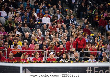 Cluj Napoca, Romania - February 11, 2018: Crowd Of People, Canadian Tennis Fans Supporting And Appla