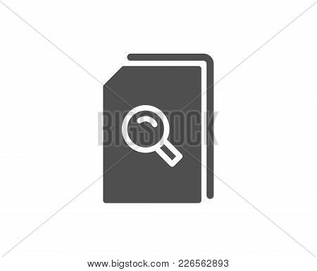 Search Documents Simple Icon. File With Magnifying Glass Sign. Paper Page Concept Symbol. Quality De