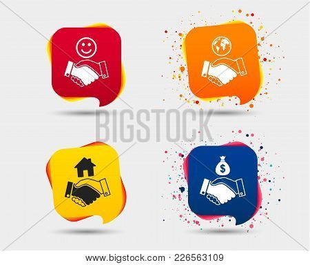 Handshake Icons. World, Smile Happy Face And House Building Symbol. Dollar Cash Money Bag. Amicable
