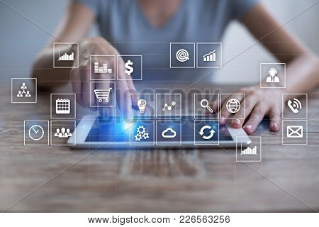 Virtual Screen Interface With Applications Icons. Apps. Work Business Process In Modern Office. Stra