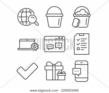 Set Of Browser Window, Sponge And Internet Search Icons. Bucket, Surprise Package And Notebook Servi