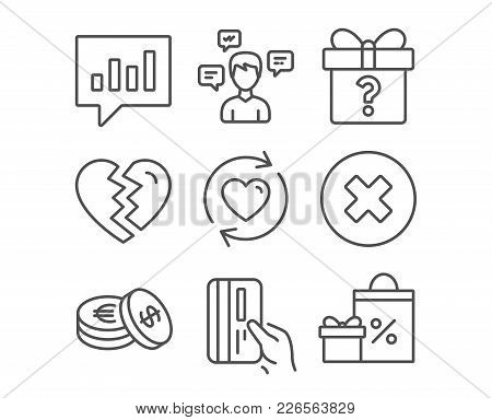 Set Of Secret Gift, Break Up And Savings Icons. Payment Card, Conversation Messages And Update Relat