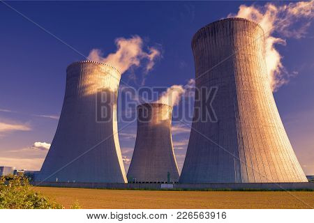 Nuclear Power Plant Dukovany At Sunset In Czech Republic Europe
