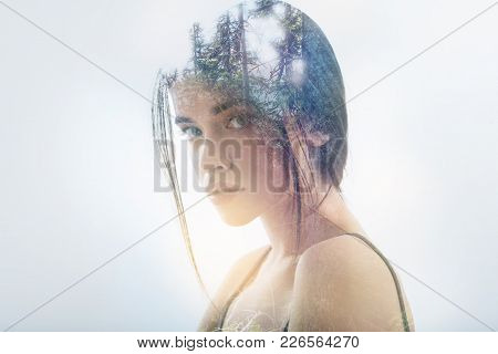 Shy Person. Cute Lovely Shy Woman Standing Calmly And Looking Shy When Rejecting To Talk To Anyone