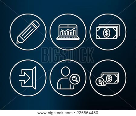 Set Of Find User, Web Analytics And Banking Icons. Pencil, Exit And Dollar Money Signs. Search Perso