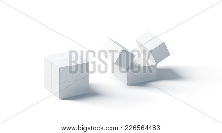 Blank White Promotional Magic Cube Mock Up, Isolated, 3d Rendering. Foldable Puzzle Cuboid Promotion