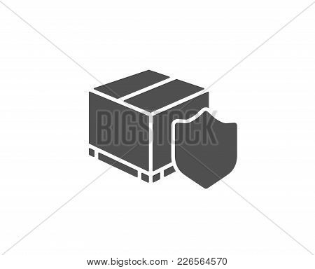 Delivery Insurance Simple Icon. Parcels Tracking Sign. Shipping Box Symbol. Quality Design Elements.