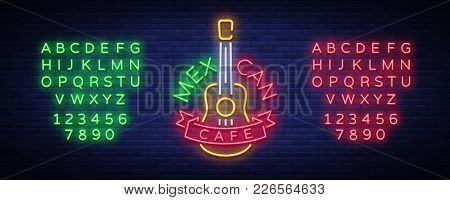Mexican Cafe Is A Neon Sign. Bright Glow Sign, Neon Banner, Luminous Logo, Symbol, Nightly Advertise