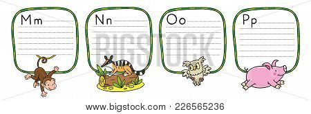 Children Vector Illustration Of Funny Monkey, Numbat, Owl And Panda. Animals Zoo Alphabet Or Abc. In
