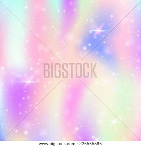Unicorn Background With Rainbow Mesh. Cute Universe Banner In Princess Colors. Fantasy Gradient Back