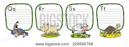 Children Vector Illustration Of Funny Quail, Rhino, Sheep And Tiger. Animals Zoo Alphabet Or Abc. In