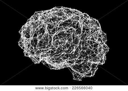 Human Brain Made Of Neuronal Network, Conceptual Image, 3d Illustration, Black-and-white