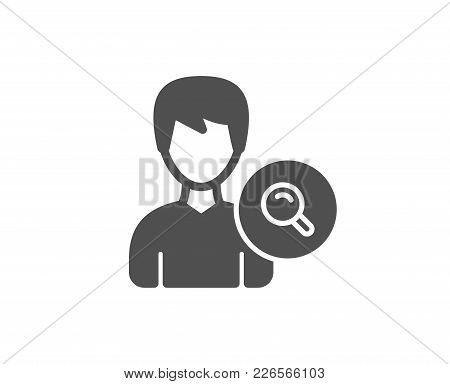 Search User Simple Icon. Profile Avatar With Magnifying Glass Sign. Male Person Silhouette Symbol. Q