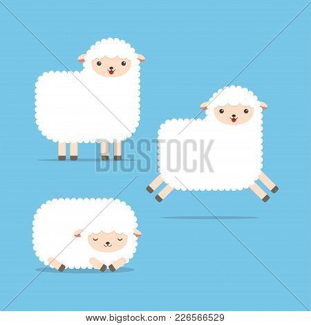 Set Of Cartoon Images Of Funny White Sheeps. Standing, Jumping And Lying. Vector Illustration.
