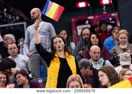 Cluj Napoca, Romania - February 11, 2018: Crowd Of People, Romanian Tennis Fans Supporting And Appla