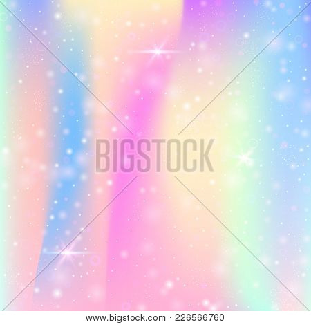 Unicorn Background With Rainbow Mesh. Mystical Universe Banner In Princess Colors. Fantasy Gradient