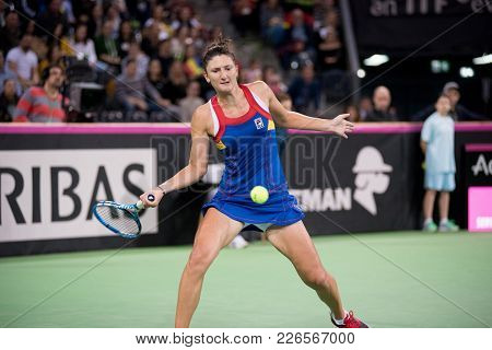 Cluj Napoca, Romania - February 11, 2018: Romanian Tennis Player Irina Begu Playing Against Katherin