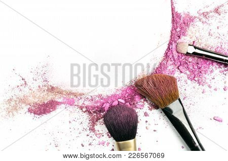 Powder And Blush Forming Frame, With Makeup Brushes And Copyspace